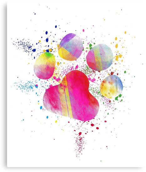 466x550 Beautiful Paw Print Watercolor Splash Dog Cat Lover Metal Prints