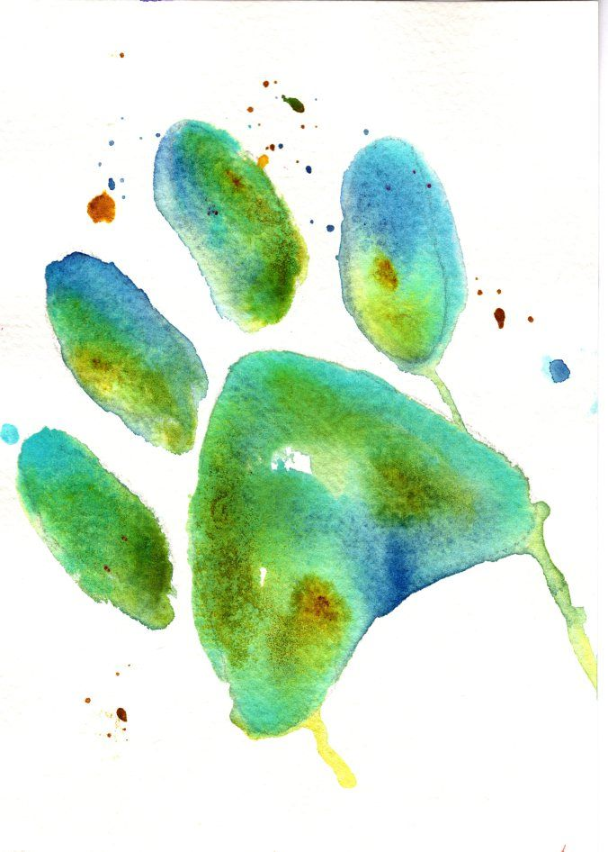 676x946 Charlie Dog Paw Print Watercolor Cobalt Teal Blue Prussian Blue