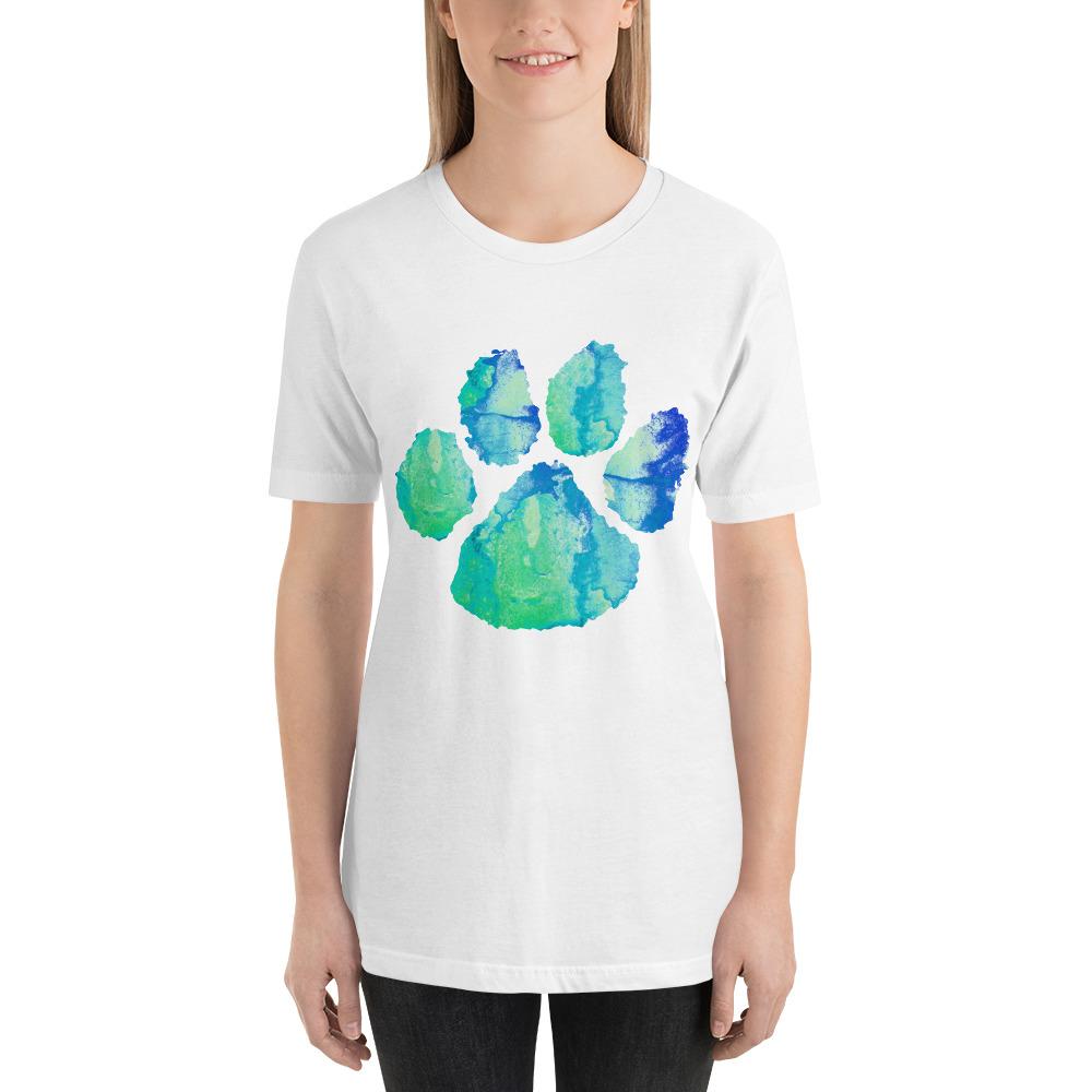 1000x1000 Dog Paw Watercolor Short Sleeve Unisex T Shirt