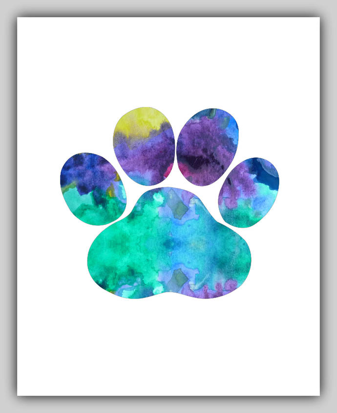 690x845 Watercolor, Dog Paw, Dog Paw Print, Paw By Bittenbyermines On Zibbet