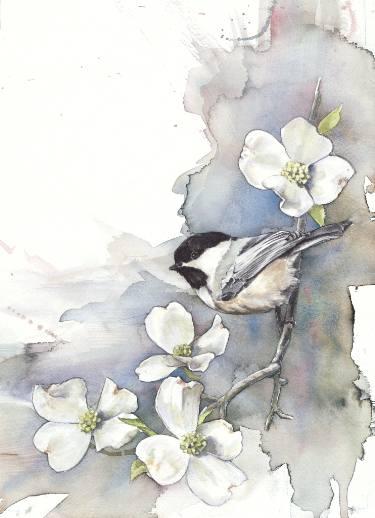375x518 Chickadee On Dogwood Painting By Anne Balogh Saatchi Art