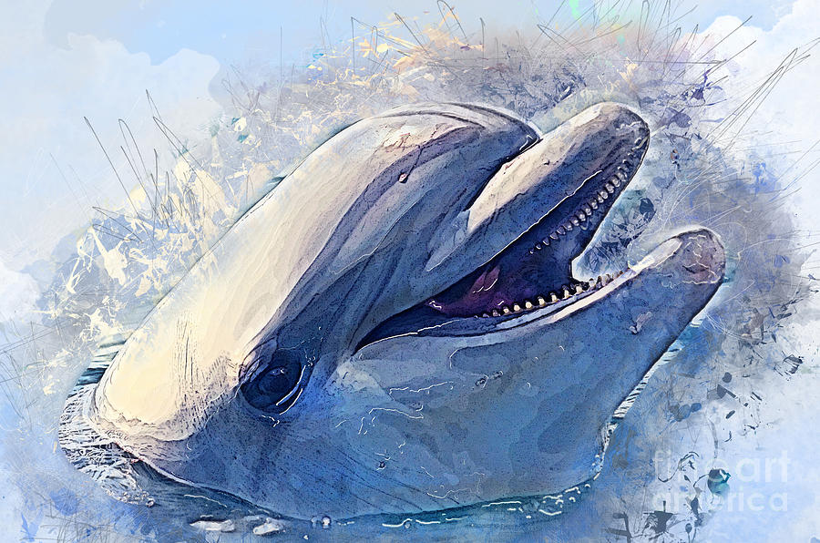 900x596 Dolphin Watercolor Art Painting By Justyna Jbjart