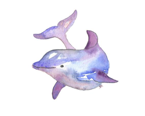 570x456 Dolphin Watercolor Art Print Ocean Animal Purple Blue Modern Etsy