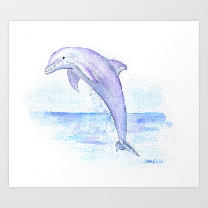 700x700 Dolphin Watercolor Art Print By Susanwindsor Society6