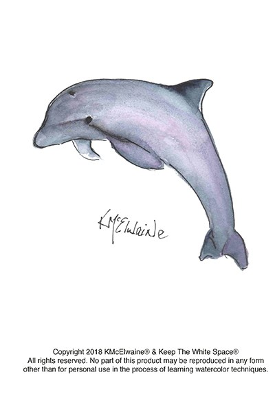 400x589 Dolphin Watercolor Pattern Kathleen Mcelwaine Art
