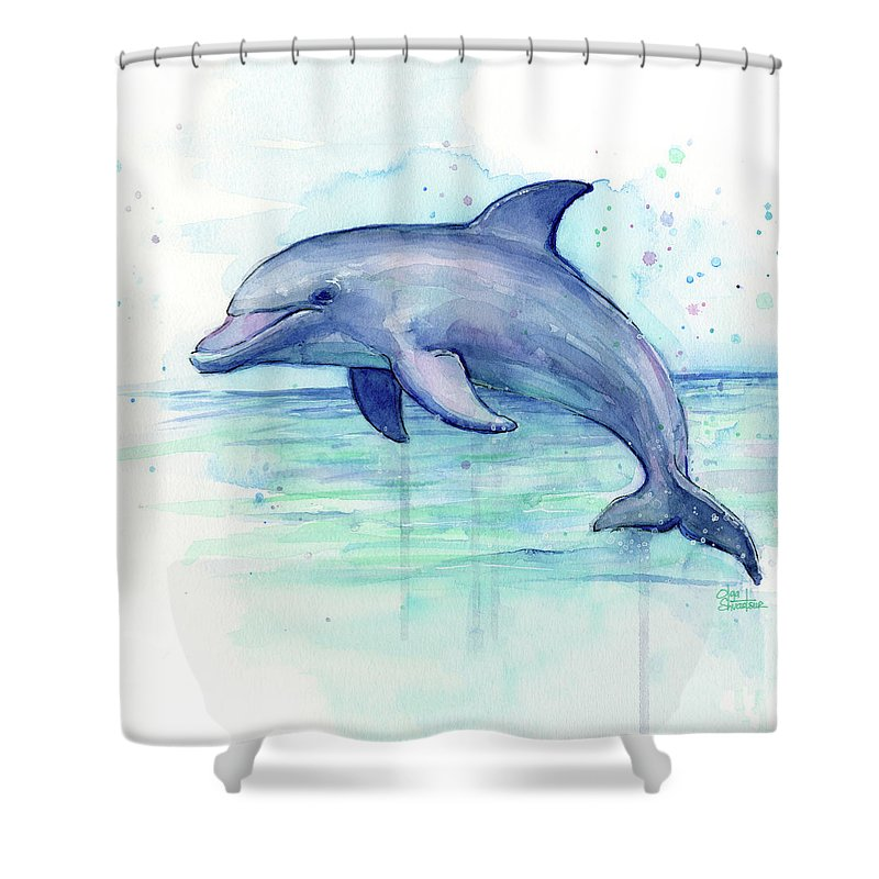 800x800 Dolphin Watercolor Shower Curtain For Sale By Olga Shvartsur