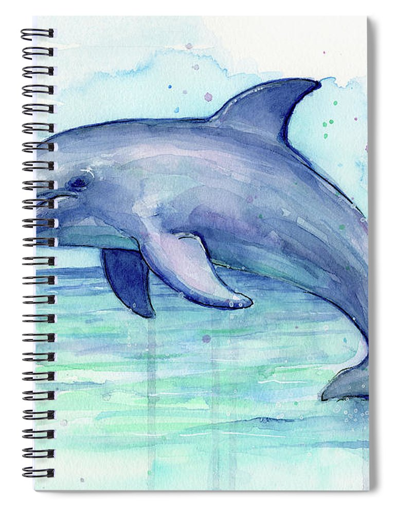 770x1000 Dolphin Watercolor Spiral Notebook For Sale By Olga Shvartsur