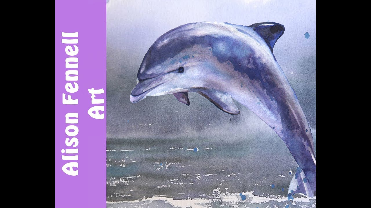 1280x720 Painting A Dolphin And The Ocean In Watercolor