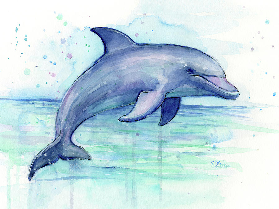 900x674 Watercolor Dolphin Painting