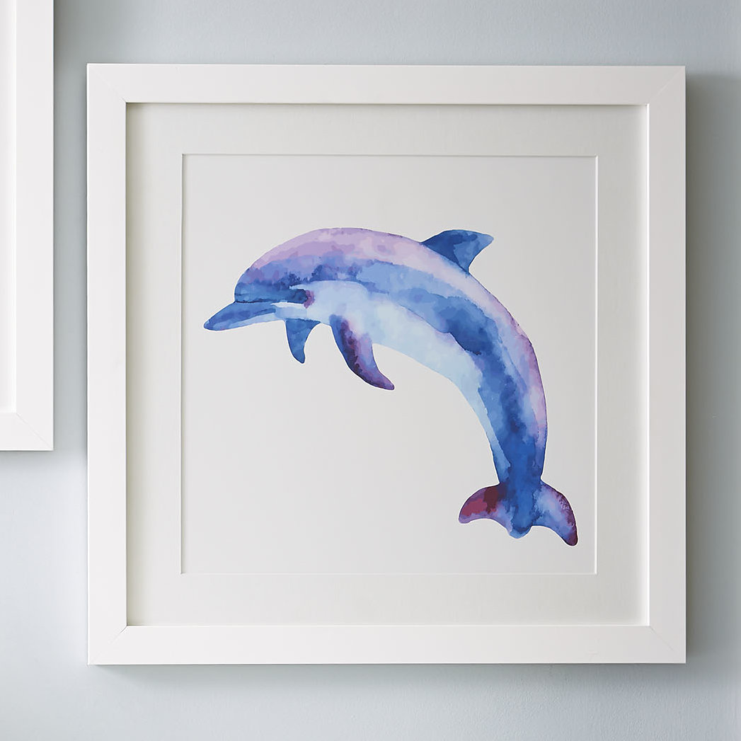 1047x1047 Birch Lane Dolphin Watercolor Sea Mammals Framed Print