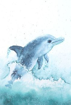 236x348 Dolphin Painting, Original Watercolor Painting, 12 X 9 In, Sea