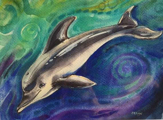 570x421 Dolphin Painting Dolphin Watercolor Painting Watercolor On Etsy