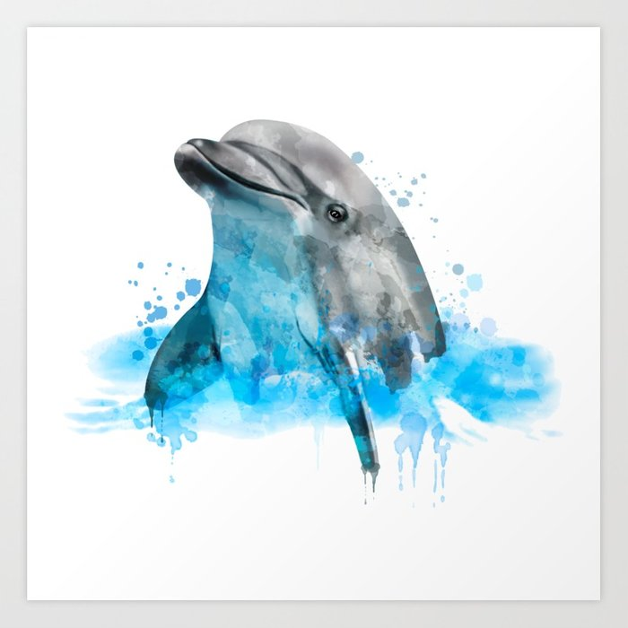 700x700 Dolphin Watercolor, Dolphin Painting, Dolphin Gift, Dolphin Poster