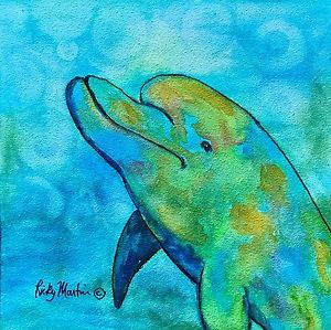 300x299 Dolphin Watercolor Painting Original Art 6 X 6 X 18 Inches Ricky