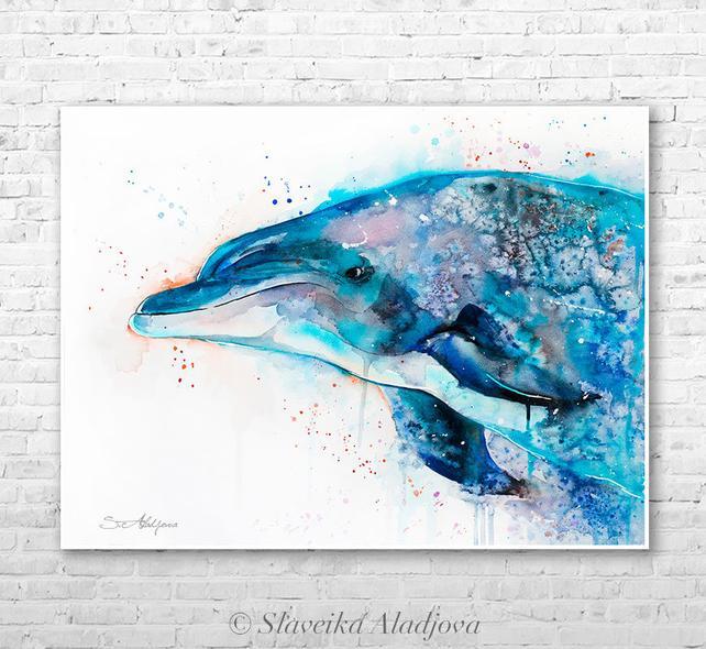642x590 Dolphin Watercolor Painting Print By Slaveika Aladjova Art Etsy