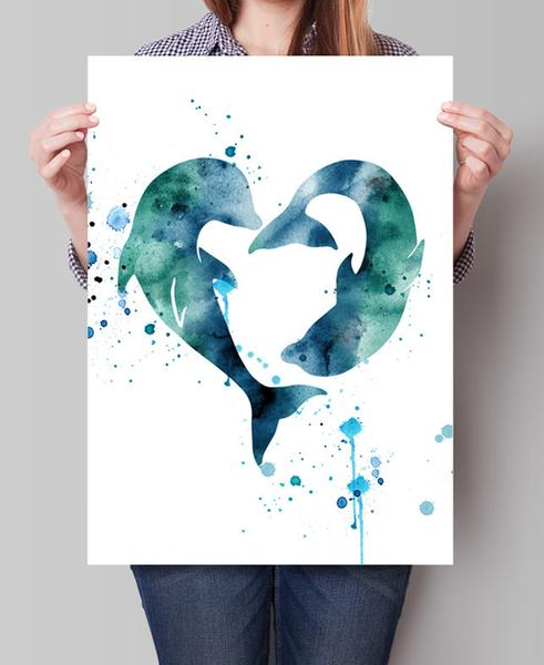 491x600 Dolphins Watercolor Print, Love Dolphins Print, Dolphin Watercolor