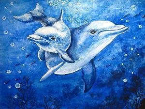 300x225 Original Watercolor Painting Dolphin Fish Fishing Ocean Art 5x7