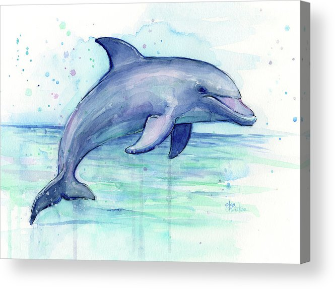 665x574 Watercolor Dolphin Painting