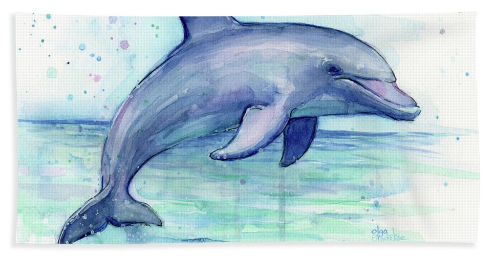 967x500 Watercolor Dolphin Painting