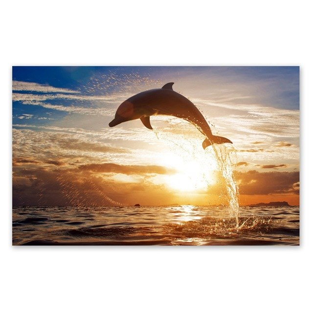 640x640 Watercolor Whale Dolphin Painting Wall Art Print Pictures, Hand