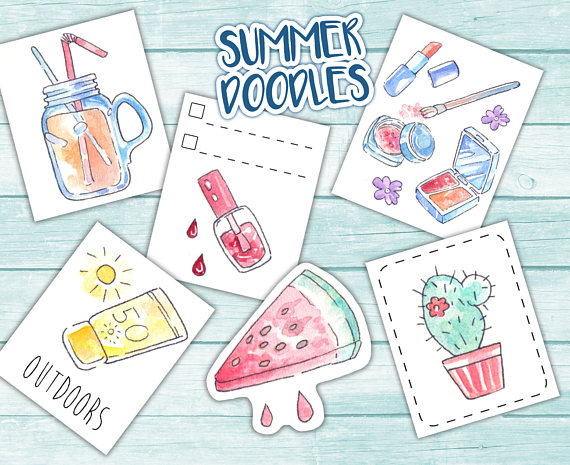 570x465 Doodle Art Summer Beauty Planner Boxes Printable Full Boxes