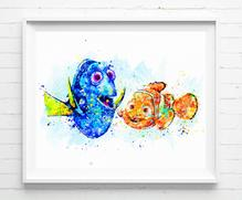 219x181 Disney Finding Dory And Nemo Art Print Poster Watercolor Painting