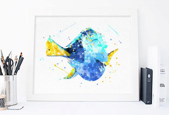 570x388 Disney Nemo Dory Watercolor Nemo Birthday Nemo Poster Nemo Etsy