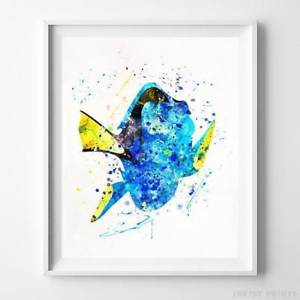 300x300 Dory Finding Nemo Wall Art Disney Watercolor Poster Home Decor