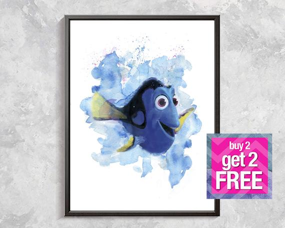 570x457 Dory Watercolor Print Finding Nemo Art Kids Room Decor Dory Etsy