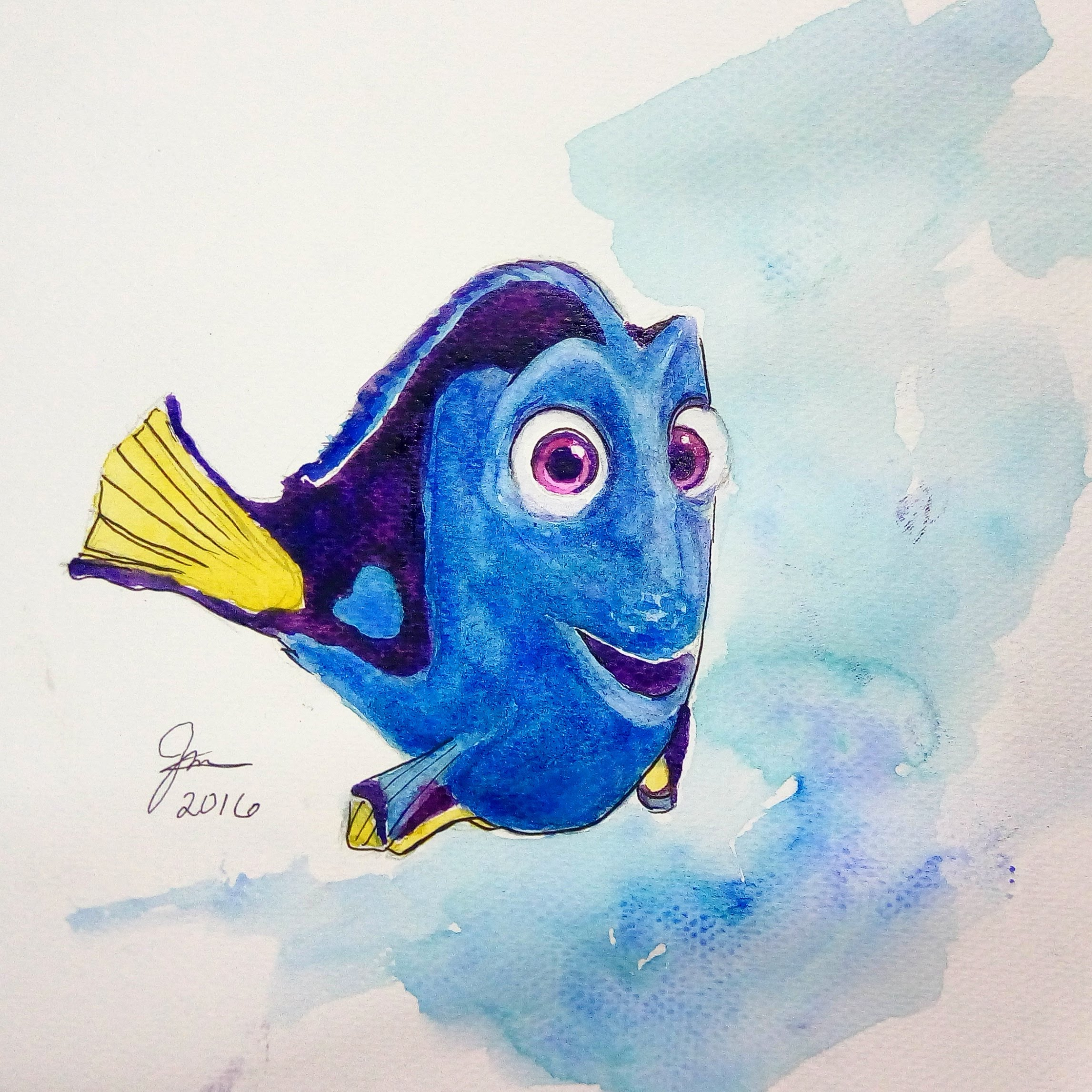 2293x2293 Finding Dory Speed Painting Watercolor
