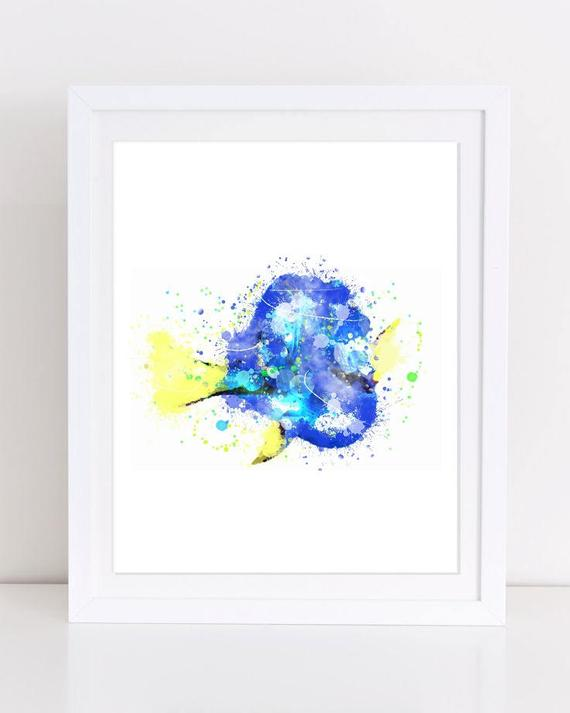 570x713 Finding Dory Watercolor Poster Disney Watercolor Printable Etsy