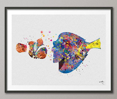400x337 Marlin And Dory Watercolor Print Finding Nemo Disney Nursery Art