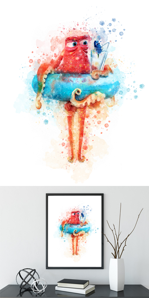 512x1024 Nemo Wall Art Disney Nemo Dory Watercolor Nemo Birthday Nemo
