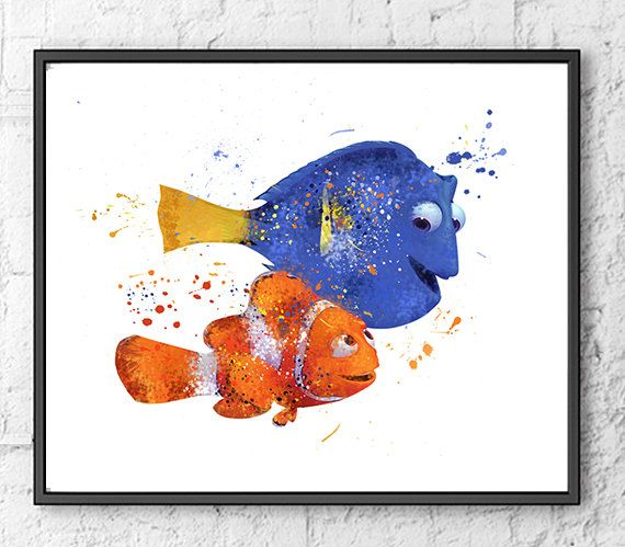 570x499 Nemo And Dory Watercolor Print, Finding Nemo Art, Kids Room Decor