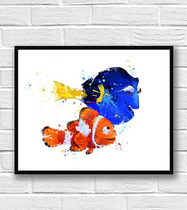 642x723 Nemo And Dory Watercolor Print Finding Nemo Art Kids Room Etsy
