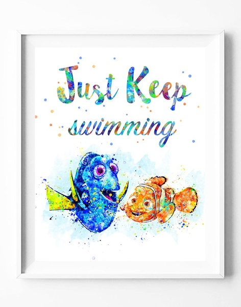 472x600 Wish Finding Nemo Dory Quote Watercolor Painting Canvas Art