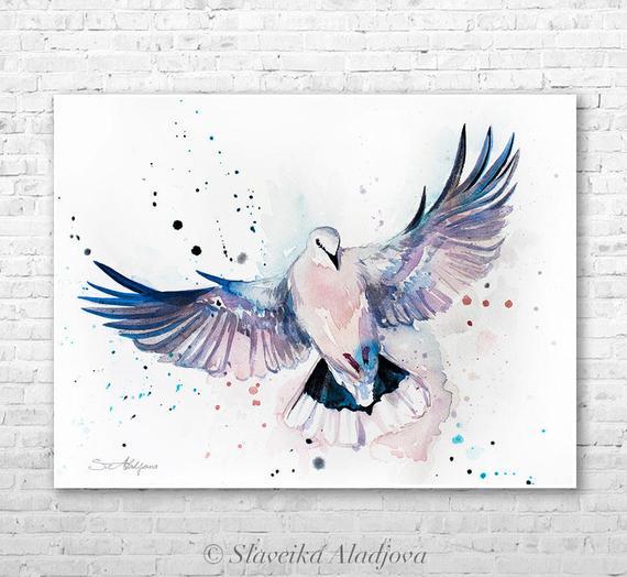 570x524 Dove Watercolor Painting Print By Slaveika Aladjova Art Etsy