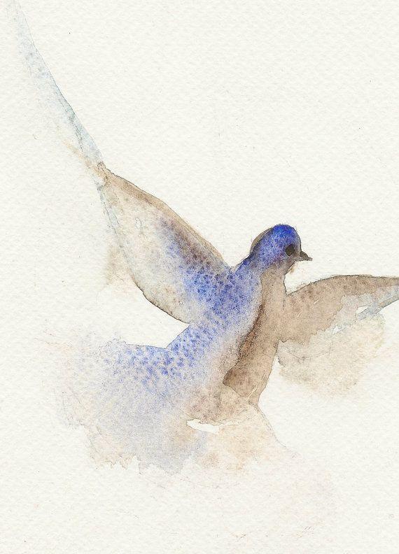 570x792 Flying Dove, Original Watercolor Painting, Bird Art, Pigeon
