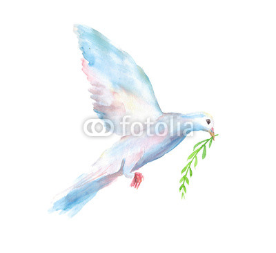 400x366 Watercolor Hand Drawn Sketch Illustration Of White Dove Of The