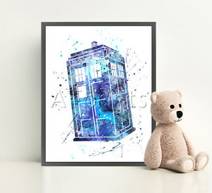 300x273 Dr Who Tardis Print Poster Watercolor Framed Canvas Wall Art