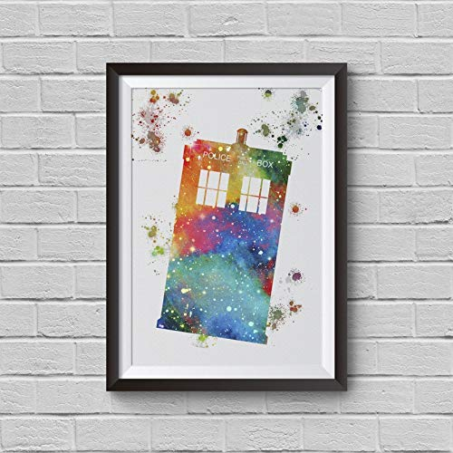 500x500 Tardis Dr Who Inspired Watercolor Painting Police Box