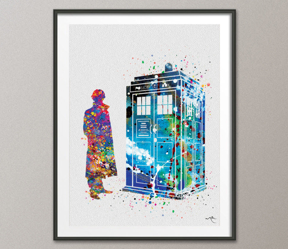 972x842 Tardis And Sherlock Holmes Dr Who Watercolor Painting Print Wall