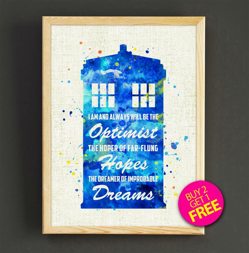 800x812 Wall Art Print Tardis Dr Who Watercolor Art Home Decor Etsy
