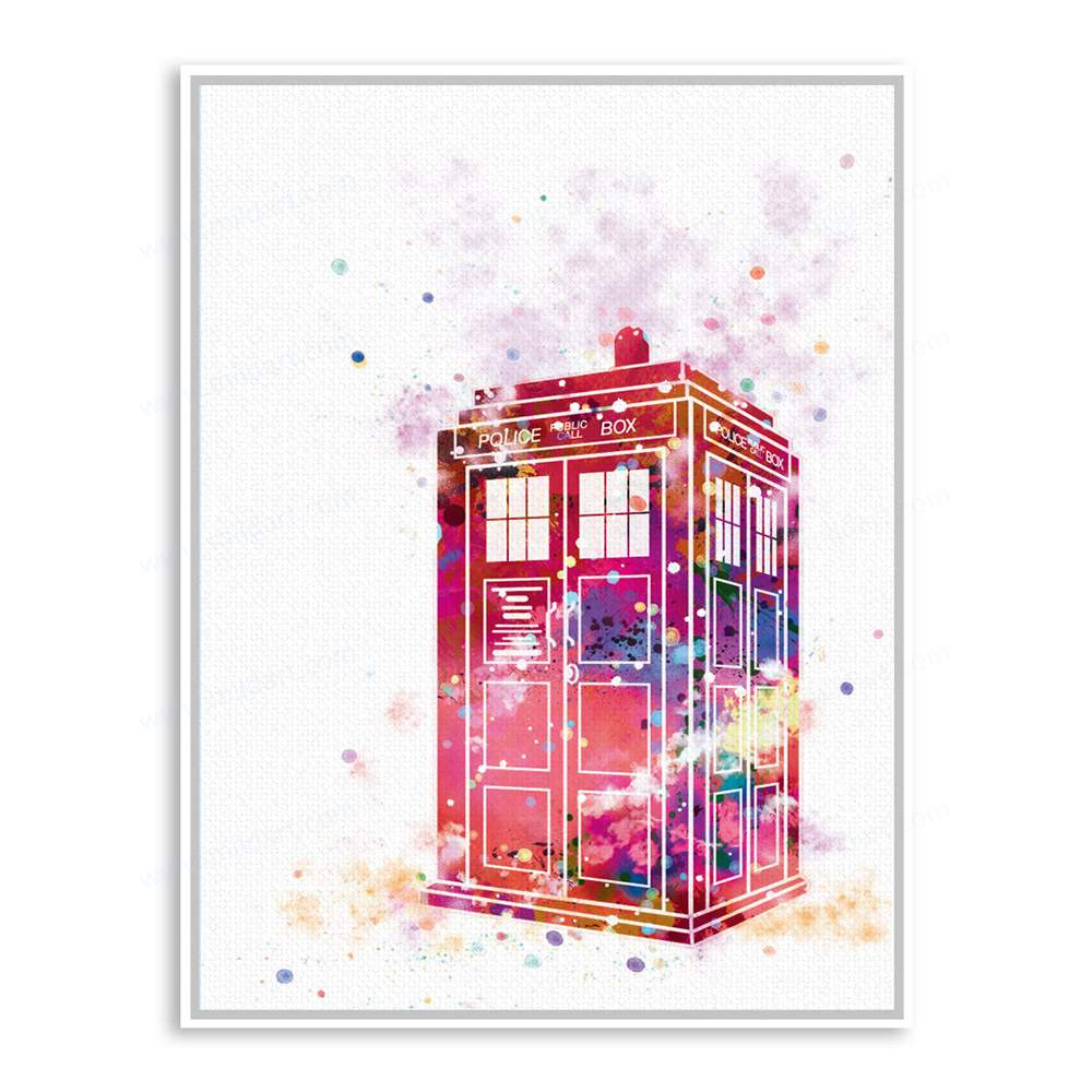 1000x1000 Watercolor Dr Who Telephpne Booth Framed Canvas Painting