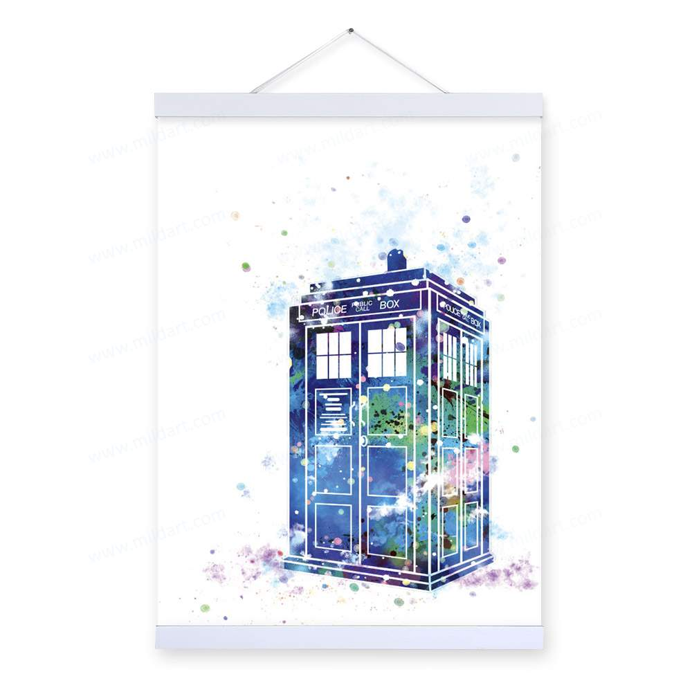 1000x1000 Watercolor Dr Who Telephpne Booth Framed Scroll Art, Portrait