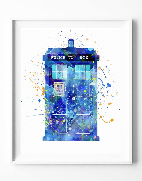 472x600 Wish Tardis Doctor Who Watercolor Poster Print Home Decor Wall