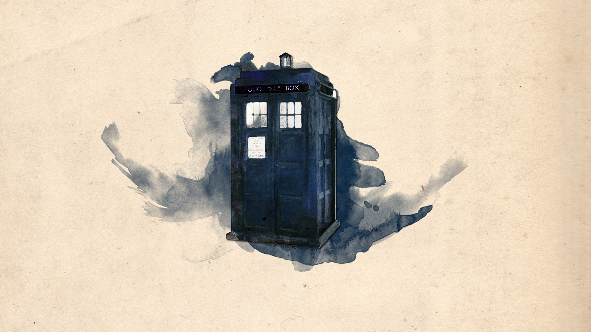 1920x1080 Tardis Artwork Doctor Who Watercolor Simple Background Hd