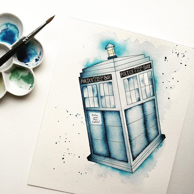 640x640 Watercolor. Dr. Who. Her Process Watercolor