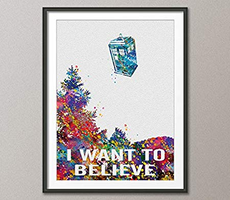450x390 Cocomilla I Want To Believe, X Files, Tardis, Dr Who Watercolor