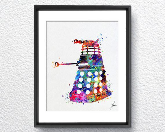 570x456 Dalek From Dr Who Watercolor Painting Print Geek Archival Fine Art